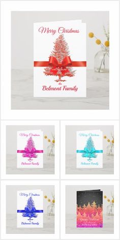 Holiday Tree, Holiday Cards, Christmas Holidays, Christmas Cards, Usa Holidays, Blue Forest, Folded Cards, Red White Blue, Ribbon Bows