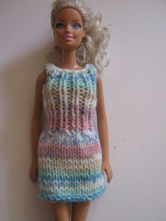 Multi coloured striped dress for Barbie. Fashion doll clothes. Summer dress for 12 inch doll. Pink and blue doll outfit.Bright colours. by Nobodyknitsitbetter on Etsy
