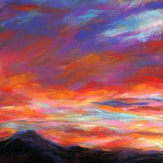 EVENING FIRE - 6 x 6 pastel  ©Susan E. Roden