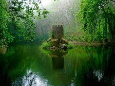 Green-Where is this nice little tower in the lake? Brings to mind ancient Ireland, fairies, Merlin, Arthurian legends.