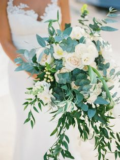Organic greenery and rose wedding bouquet: http://www.stylemepretty.com/destination-weddings/2017/02/17/embracing-beach-glamour-on-the-shores-of-punta-cana/ Photography: Asia Pimentel - http://dominicanrepublicphotography.com/