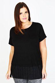 Plus Black Short Sleeve Top With Sheer Pleated Hem 16-32