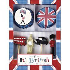 """Kit Cupcake London : L'Union Jack, Beefeaters, bus et taxis de Londres et Big Ben ... Livré dans une boîte de présentation élégante. Un super anniversaire """"so British"""" en perspective! The Union Jack, Beefeaters, buses and taxis in London and Big Ben ... Comes in a stylish presentation box. A great birthday """"so British"""" perspective!"""