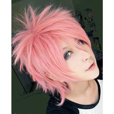 Fairy Tail Natsu Dragonil pink short layers cosplay wig easy for spiky... ($49) ❤ liked on Polyvore