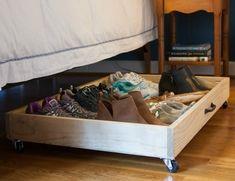 Best Under Bed Storage Solutions Shelves 47 Ideas Shoe Organizer Under Bed, Under Bed Shoe Storage, Under Bed Drawers, Shoes Organizer, Storage Drawers, Diy Storage, Furniture Storage, Kitchen Storage, Storage Ideas