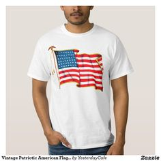 Vintage illustration proud patriotic Fourth of July holiday shirt design featuring an American Flag, the stars and stripes. Show your patriotism and pride for the United States of America with a symbol of freedom and our great nation. Perfect for celebrating our heroes on Veteran's Day, Memorial Day or Independence Day the 4th of July.