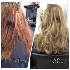 transform your dull and patchy copper to Blonde and bouncy with the amazing goldwell colour and kms styling products vitsit us at Epic Hair Designs  #warmblonde #caramel #healthy #epichairdesigns #goldwell #blonde #soft #bouncy