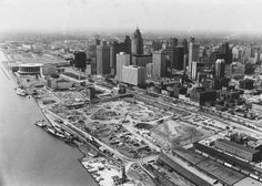 The construction site of the Renaissance Center between Jefferson and the Detroit River is cleared for construction on Sept. 10, 1974. Detroit Renaissance was born in 1970 out of a gathering of business, industrial and civic leaders dedicated to stimulating an economic boom in Detroit after the 1967 riots. (Detroit News Archives)