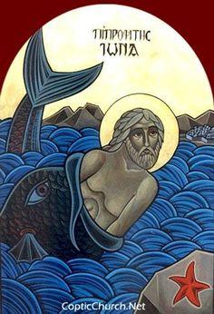 Coptic Orthodox icon of the Holy Prophet Jonah Religious Images, Religious Icons, Religious Art, Byzantine Icons, Byzantine Art, Jonah And The Whale, Roman Church, Biblical Art, Catholic Art