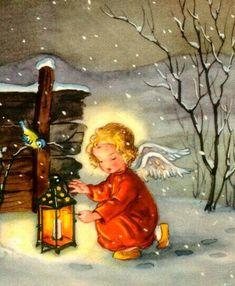 Lighting the way pieces) – Winterbilder Vintage Christmas Images, Retro Christmas, Christmas Pictures, Christmas Scenes, Christmas Past, Christmas Angels, Illustration Noel, Christmas Illustration, Christmas Blessings