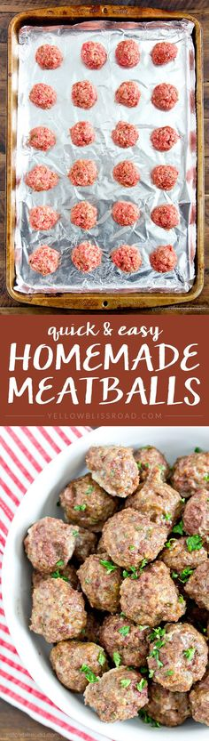 Easy Homemade Meatballs Recipe- so much better (and cheaper!) than frozen. Perfect Weeknight Dinner Recipe!