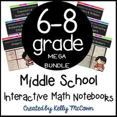 Mental math warm ups 6th grade tpt math lessons pinterest middle school interactive math notebooks the mega bundle fandeluxe Gallery