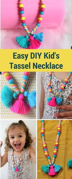 Necklaces Diy DIY Bead and Tassel Necklace for Children - Looking for an easy DIY necklace for children? Cute Kid's necklace idea for children. How to make a children's necklace with beads and tassels Kids Jewelry, Jewelry Crafts, Jewelry Making, Little Girl Jewelry, Jewelry Kits, Kids Necklace, Tassel Necklace, Necklaces, Marble Necklace