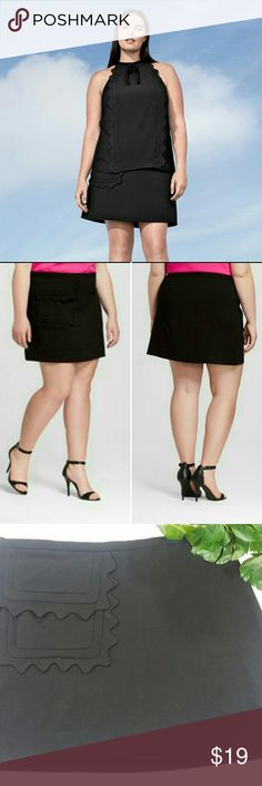"NWT Black Scallop Skirt 3X Victoria Beckham for Target  Women's Plus Black Twill Skirt with Scallop Trim Pocket   Size 3X (24W -26W) Waist: 50"" Hip: 29"" Length: 19.5""  Side Zipper, Front flap pocket, Mid- rise, Super soft!  63% Polyester, 33% Rayon, 4% Spandex   Machine Wash   Smoke Free Home   Bundle & Save! Victoria Beckham for Target Skirts Mini"