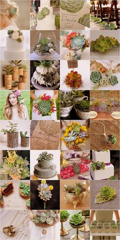 Succulent Bouquet & Wedding Theme    I wonder what it would look like if the wine corks were dipped in wood stain?