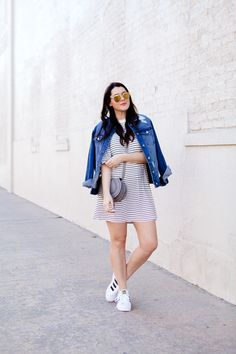 black and white striped dress with denim jacket and adidas superstars Denim Jacket With Dress, Striped Jacket, Striped Tee, Striped Dress, Denim Outfit, Adidas Superstar, Swing Dress, Sneakers Fashion, Stripes