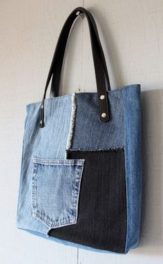 Denim Frayed Patch Tote with Outside Pocket, Leather Straps, Two Interior Pockets with Black, Blue and White Zig-Zag Cotton Lining 266687635 by AllintheJeans on Etsy Diy Handbag, Diy Purse, Jean Purses, Purses And Bags, Denim Bags From Jeans, Denim Crafts, Recycled Denim, Blue Bags, Handmade Bags