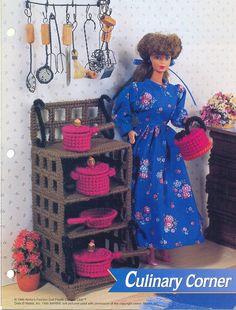 Plastic Canvas Pattern Fashion Doll Culinary Corner Cupboard Pots Pans Kettle. $4.00, via Etsy.