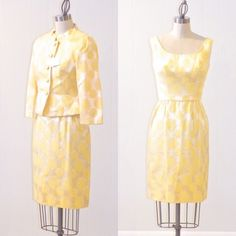 #Vintage 1960s Dress #Suit, Yellow Brocade Cocktail Dress & #Jacket, Mad Men Jack,  View more on the LINK: http://www.zeppy.io/product/gb/3/172774389/