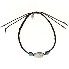 Bracelet SHIVA cordon Oeil de Ste Lucie et Larimar - Blue Stone