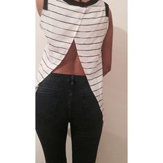 Open Back Striped Top NWOT Open Back. Super Chic. Minimalist. Black and White. Tops