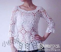 White Openwork 3/4 Length Sleeve Top with Round Flower Motif free crochet graph pattern