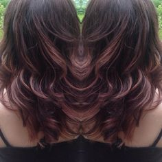 Deep chocolate and rose gold balayage