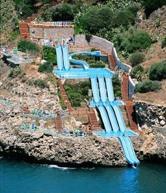 The 3 Tier, The Toboggan Slide, only for guests at the Citta Del Mare Hotel, in Sicily, Italy.