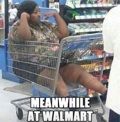People of Walmart! Awe, maybe she was a bad girl and mommy made her get in the cart. AND...now she's stuck...bh