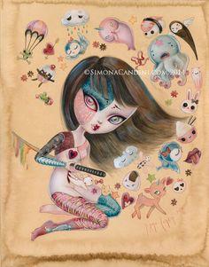 Simina Candini #art #painting #illustration #kawaii #cute #sword #anime