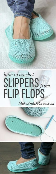 Slippers with flip-flop soles, free tutorial & pattern from Jess of Make And Do Crew.   . . .  ღTrish W ~ http://www.pinterest.com/trishw/  . . . #crochet