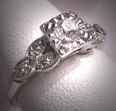 Antique Diamond Wedding Ring Vintage Art Deco by AawsombleiJewelry.  via Etsy.