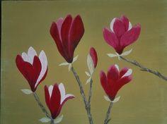 早春の緑の中でひときわ輝く赤紫の木蓮はうつくしいです。水干絵の具で麻紙を貼ったボード(厚さ5mmに15mmの裏枠付)に描いた日本画です。サイズは455x380...|ハンドメイド、手作り、手仕事品の通販・販売・購入ならCreema。
