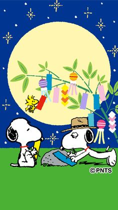 Snoopy and Spike Writing Wishes on Paper With Woodstock Flying Nearby During the Tanabata Festival