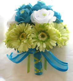Bridal bouquet TURQUOISE GREEN DAISY wedding flowers- Bridesmaids boutonnieres Corsages 10 pc package. $120.00, via Etsy.