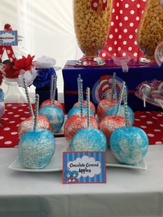 Chocolate Covered Apples at a Dr. Seuss Party #drseuss #party