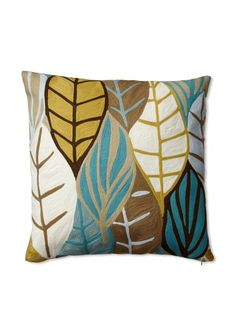 "40% OFF Zalva Poplar Ochre Decorative Pillow, Teal/Mustard/Taupe/Mocha, 20"" x 20"""