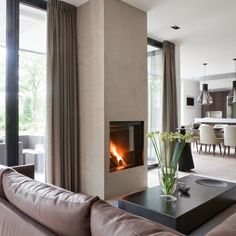 The possibilities at the Villa in 't Gooi were enormous because the design of the interior and exterior were parallel … Living Room Interior, Home Living Room, Living Spaces, Wooden Fireplace, Interior And Exterior, Interior Design, Zeina, Fireplace Remodel, Luxury Living