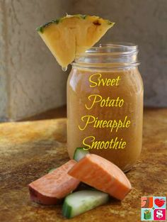 Sweet Potato Pineapple Smoothie Recipe from Having Fun Saving and Cooking. Reduce inflammation naturally, with this Sweet Potato Pineapple Smoothie. Sweet potatoes, pineapple and turmeric are great for inflammation. Healthy Drinks, Healthy Snacks, Healthy Milk, Healthy Detox, Sweet Potato Smoothie, Pineapple Smoothie Recipes, Diabetic Smoothies, Easy Family Meals, Family Recipes