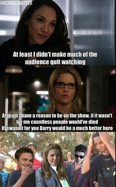 There's always that one person who serves no purpose(Iris). Team Arrow, Arrow Tv, Life Is Strange, Oliver Queen Arrow, Dc Comics, Arrow Memes, Flash Funny, The Flash Grant Gustin, Dc World