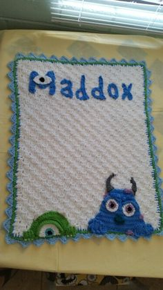 Monsters inc themed baby blanket
