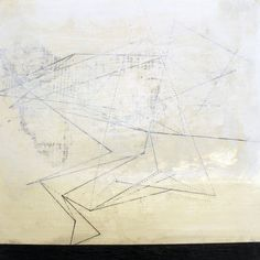 Untitled Gesso panel. Graphite, Thread, Oil and pastel on paper on wood.  Helen Booth  http://helenbooth.com