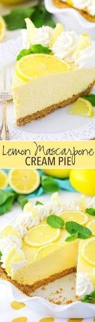 Mascarpone Cream Pie Lemon Mascarpone Cream Pie - light, creamy, easy to make and great for summer!Lemon Mascarpone Cream Pie - light, creamy, easy to make and great for summer! Easy Pie Recipes, Cream Pie Recipes, Lemon Recipes, Sweet Recipes, Baking Recipes, Cake Recipes, Dinner Recipes, Summer Recipes, Vegaterian Recipes