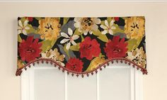 Garden Delight Cornice Valance in red is enhanced by lavish trim   RLF Home