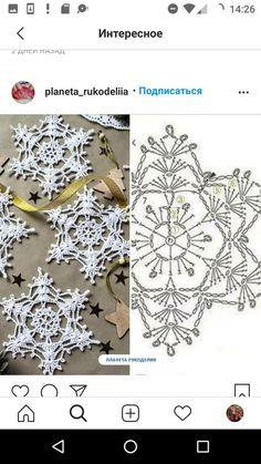 Crochet Beret, Filet Crochet, Cute Crochet, Irish Crochet, Crochet Motif, Crochet Flowers, Crochet Stitches, Quilted Christmas Ornaments, Crochet Christmas Decorations