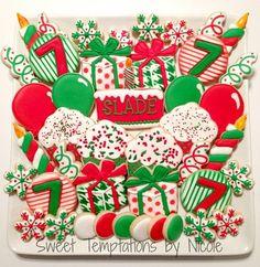 Temáticos de la Navidad de cumpleaños Galletas