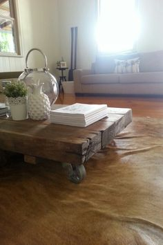 Railway sleepers turned into a coffee table.... too many offers to buy this baby but its not for sale... sorry