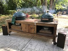 Deluxe Double Table - Wood by Dana Big Green Egg Table, Grill Table, Kamado Grill, Drop Leaf Table, Corrugated Metal, Table Plans, Outdoor Cooking, Grilling, Hardwood