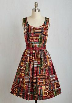 Archive Got the Power Dress by ModCloth - Multi, Novelty Print, Print, Daytime Party, Scholastic/Collegiate, Nifty Nerd, Fit & Flare, Sleeveless, Woven, Better, Exclusives, Private Label, Long, Cotton, Quirky, Gifts2015