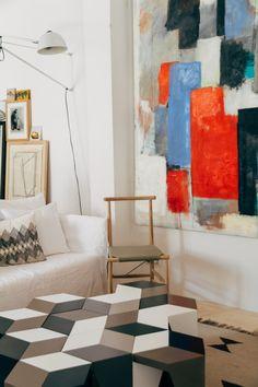 Designer and upcycling specialist Alvaro Catalan de Ocon's live/work quarters in Madrid | Remodelista